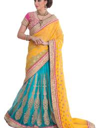 Buy Yellow And Blue embroidered georgette Saree with Blouse lehenga-saree online