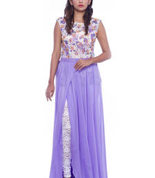Buy White lace top and violet slit skirt skirt online