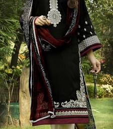 Buy Black  Cotton embroidered unstitched salwar with dupatta dress-material online