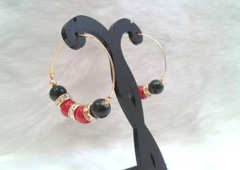 Very pretty casual wear red RUBY & BLACK ONYXbeads cz hoops style earring pair