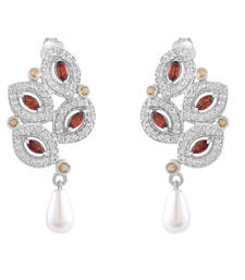 Buy Allure Leaf Shaped Silver Earring with Multicolor Gemstone and Pearls danglers-drop online