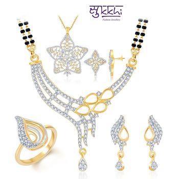 Sukkhi Radiant Gold & Rhodium Plated CZ jewellery-combo