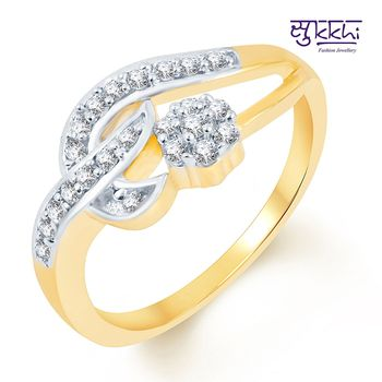Sukkhi Intricately Crafted Two Tone CZ Studded Ring
