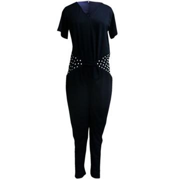Stone Work Black Color Jump Suit