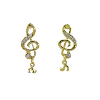 "DIOVANNI ""Music Merriment Moments"" CZ Diamond Studded Musical Notes Earrings  in Gold Tone"