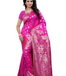 Buy Pink plain Banarasi Silk saree with blouse traditional-saree online