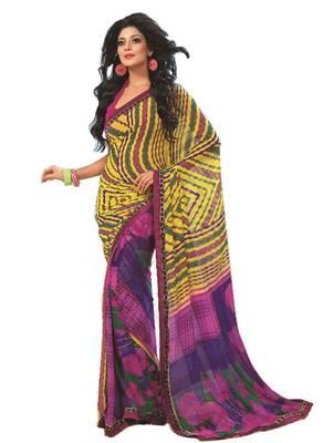 Bollywood Designer Weightless Georgette Saree With Elegant Border & Blouse Piece 4002B