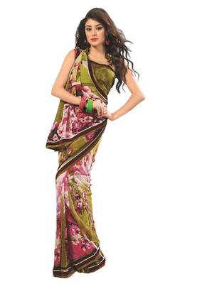Bollywood Designer Weightless Georgette Saree With Elegant Border & Blouse Piece 4022A