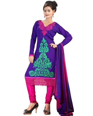 Triveni Blue Chanderi Silk Embroidered Salwar Kameez - TSMESK17577