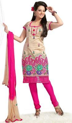 Triveni Cream Chanderi Embroidered Salwar Kameez - TSMESK17602