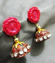 Buy Flower Terracotta Jhumka terracotta-jewelry online