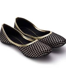 Buy Black Fabric party wear traditional footwear for women footwear online