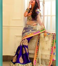 Buy Blue and cream embroidered net saree with blouse party-wear-saree online
