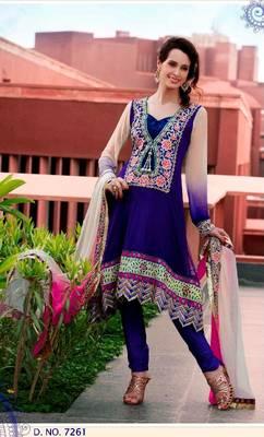 Purple Net Anarkali Churidar Kameez