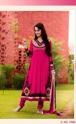 Dark Pink Faux Georgette Anarkali Churidar Kameez