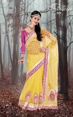 Indian Designer Yellow Nett Georgette Wedding Wear Saree