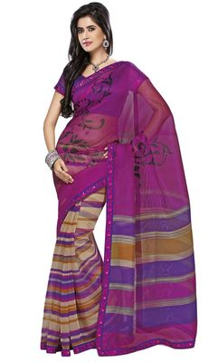 Triveni Violet Super Net Bollywood Printed Saree TSSA948b