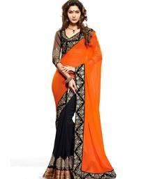 Buy orange embroidered art-silk saree with blouse art-silk-saree online