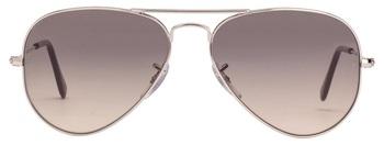 Silver Frame Black Gery Gradient Lens Aviator Sunglasses
