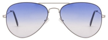 Silver Frame Blue Gradient Lens Aviator Sunglasses