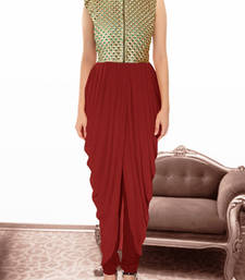 Buy Maroon gorgette and  brocade embroidered semi stitched salwar with dupatta party-wear-salwar-kameez online