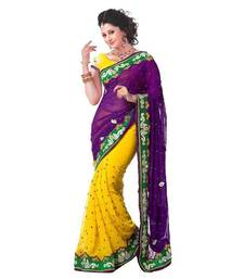 Buy YELLOW embroidered georgette chiffon saree with blouse party-wear-saree online