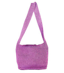Buy Ajar Crochet Shoulder Handbag | Lavender jhola-bag online