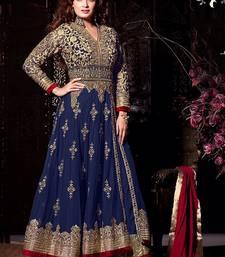 Buy Blue georgette embroidered semi stitched salwar with dupatta wedding-salwar-kameez online