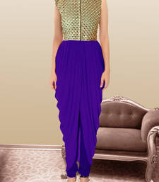 Buy Blue gorgette and  brocade embroidered semi stitched salwar party-wear-salwar-kameez online