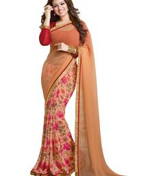 Buy chiku and Red printed synthetic georgette saree with blouse georgette-saree online