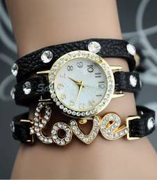 Buy Fency Bracelet Watch-Love Diamond (Black) watch online