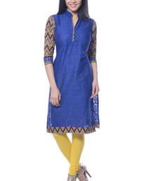 Buy Blue Printed Jacquard kurti long-kurti online