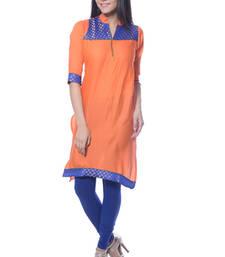 Buy Orange & Blue Jacquard kurti long-kurti online