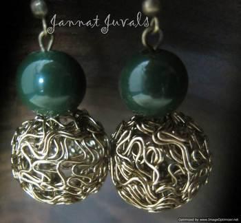 Gorgeous Green & Golden Earrings