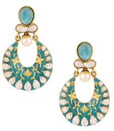 Buy Firozi turquoise exquisite meenakari mughal ad stone india bollywood ethnic earring danglers-drop online