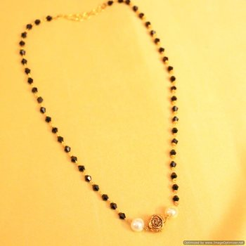 Antique Carved Bead Pearl mangalsutra