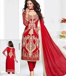 Buy Red printed crepe unstitched salwar with dupatta salwar-kameez-below-500 online
