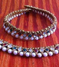 Buy Maroon Green Stones Pearl Payal or Anklet- Ethnic Indian Bollywood Jewelry b158 anklet online