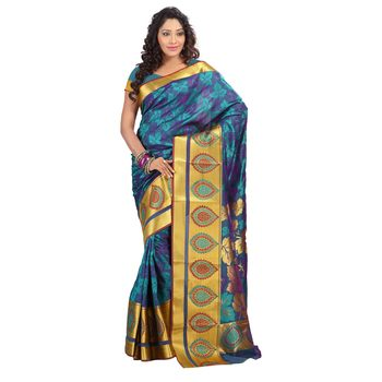 Turqoise woven art silk saree with blouse
