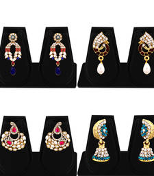 Buy Marquise Gold Plated AD Combo Earring For Women combo-earring online