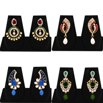 Exquisite Gold Plated AD Combo Earring For Women