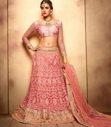 Buy Pink net embroidered  lehenga choli lehenga-choli online