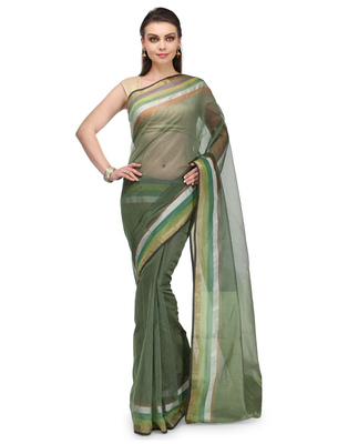 mehendi woven super net saree with blouse