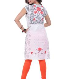 Buy Navrachna Woman White Cotton Printed Kurti with Short Sleeves In Casual Wear eid-kurti online
