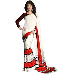 Buy white printed crepe sare with blouse printed-saree online