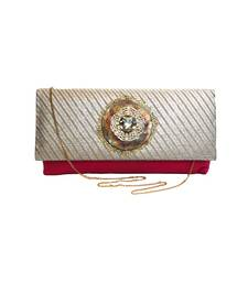 Buy Duo Clutch with Antique Copper Brooch (Pink) clutch online