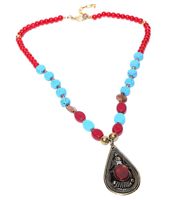 Multi-Colored Beads and Stone Embellished Ethnic Necklace