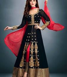 Buy Black georgette embroidered semistitched salwar with dupatta party-wear-salwar-kameez online