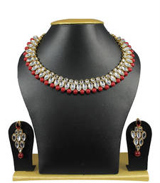 Buy Red Kundan Gold Plated Strand Necklace With Earings  For Women necklace-set online