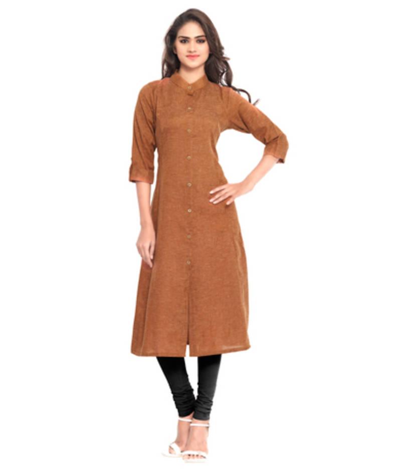 Buy Brown Khadi Plain kurti Online